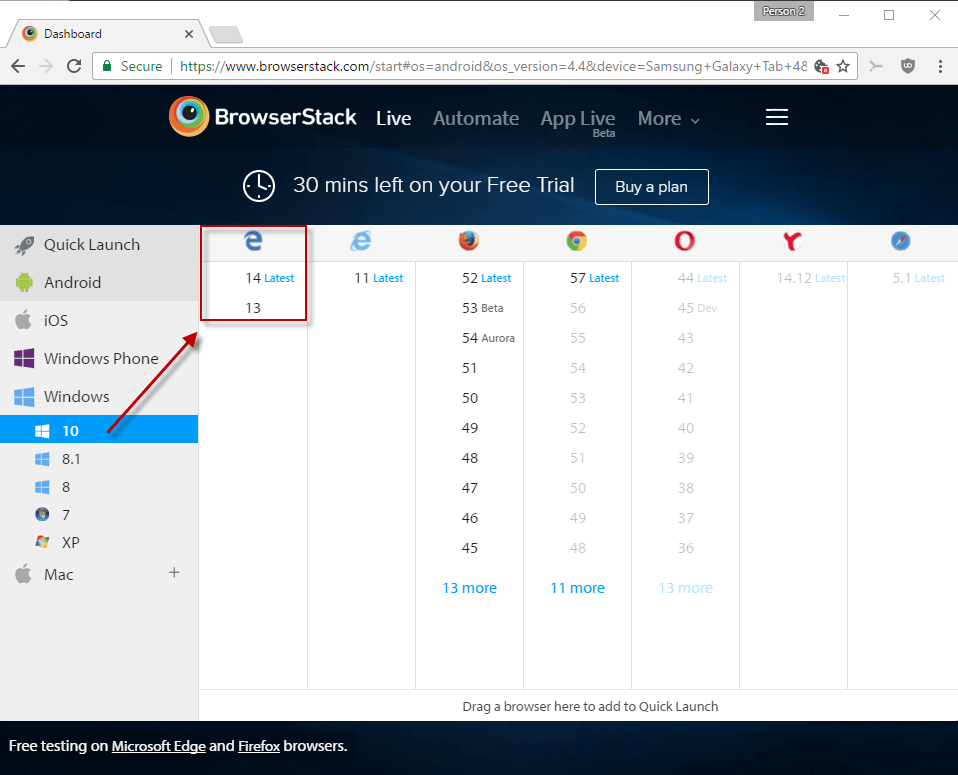 microsoft edge browserstack