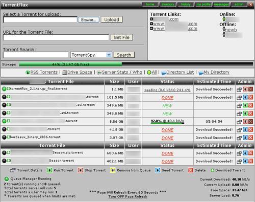torrentflux 2 torrent client web server