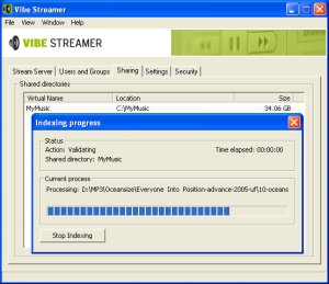vibe streamer stream mp3 over internet