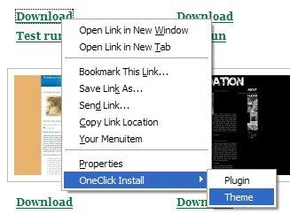 one click install of plugins and themes firefox