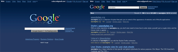 google web search redesign