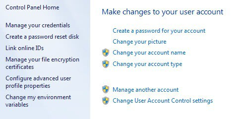 change user account password