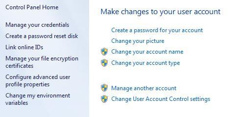 change user account password