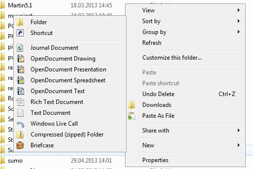 windows explorer new menu