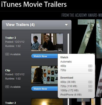 apple movie trailers download