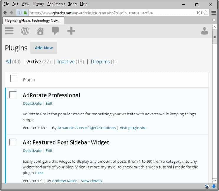 List of Wordpress Plugins installed