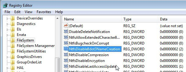 ntfs disable 8dot3 name creation