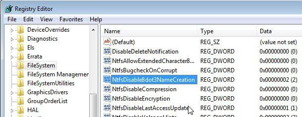 ntfs disable 8dot3 name creation