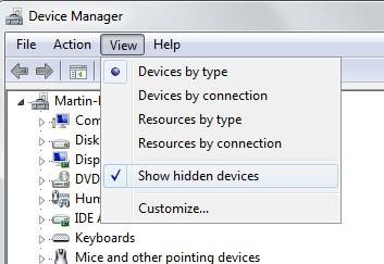 show hidden devices windows