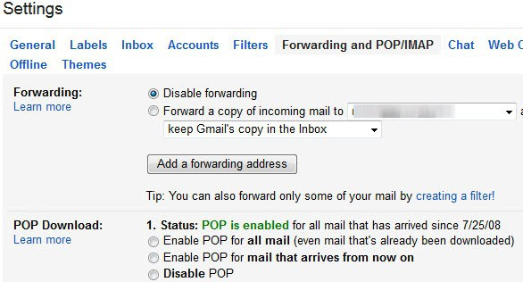 gmail access pop imap