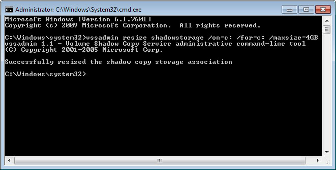change system restore size command-line