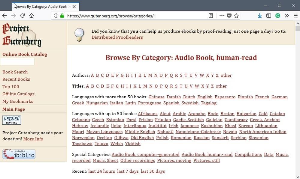 gutenberg audiobooks