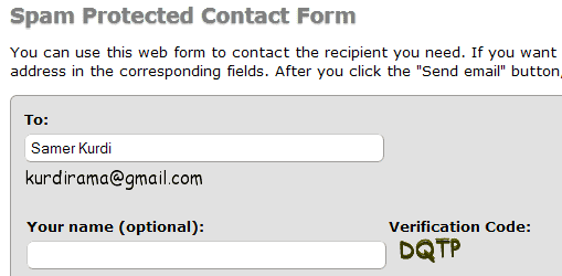 spam protected contact form