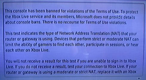 xbox 360 console has been banned