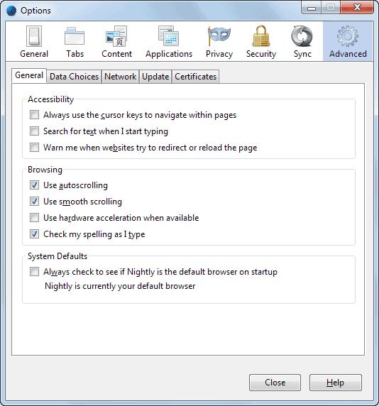 firefox options window