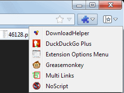 firefox extensions options menu