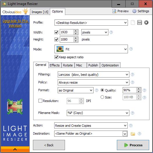 light image resizer options