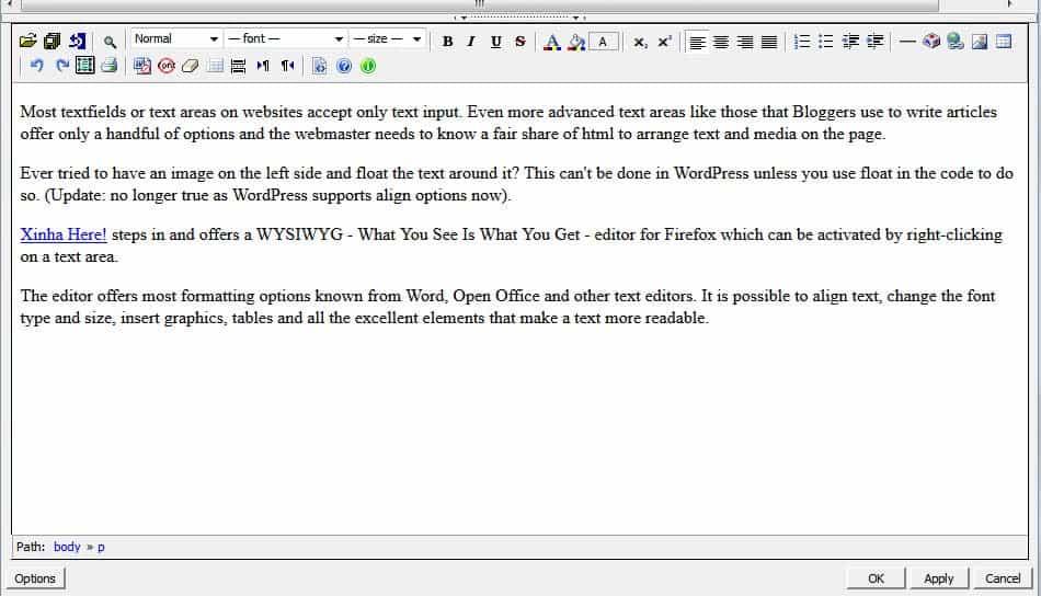 Firefox WYSIWYG Editor for all textareas - gHacks Tech News