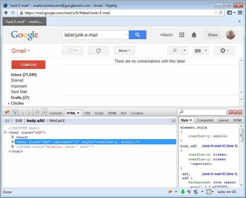 firebug-gmail