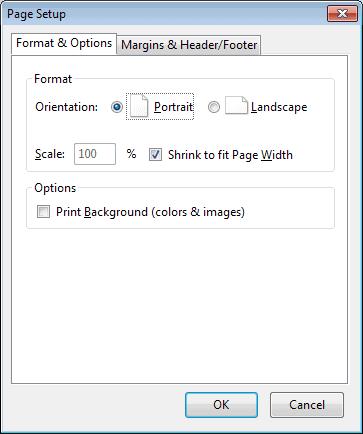 firefox format options