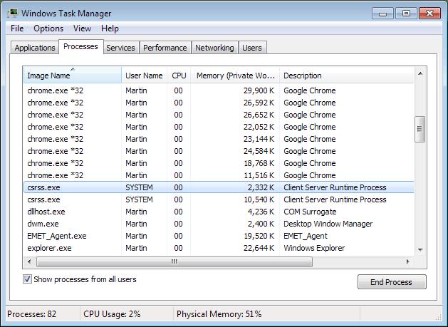 csrss.exe client server runtime