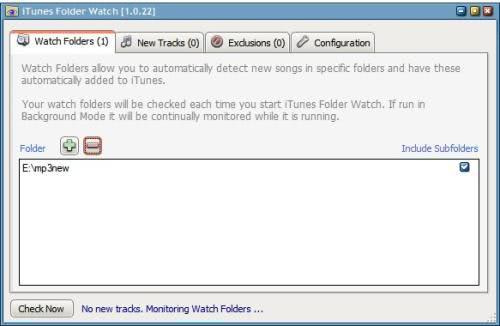 iTunes folder watch