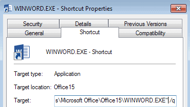 microsoft word startup parameters