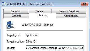 microsoft word startup parameters