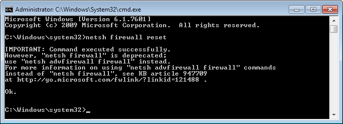 Reset the Windows Firewall