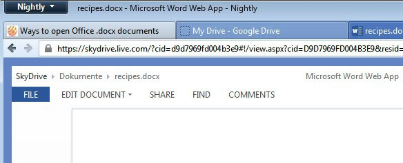 skydrive open docx