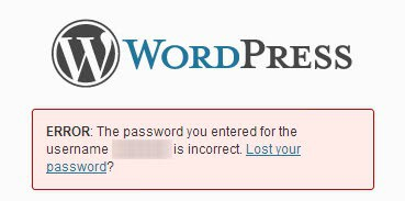 wordpress password incorrect