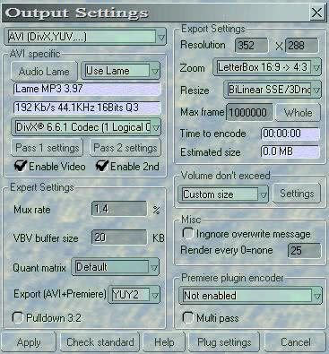 output settings dvdx