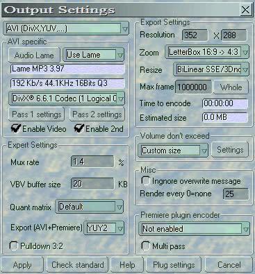 output settings dvdx