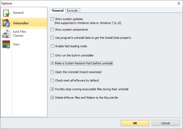 revo uninstaller options