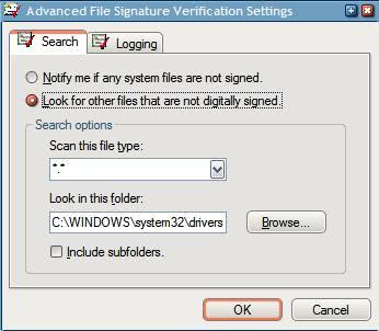sigverif settings