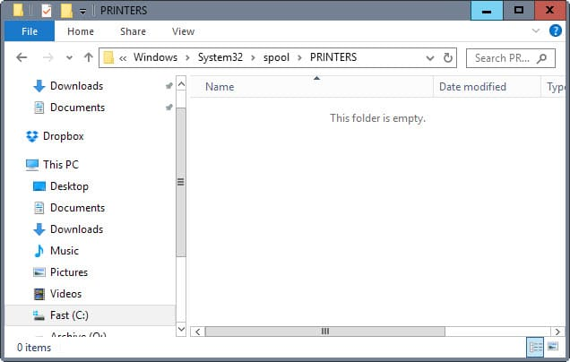 printer spool directory