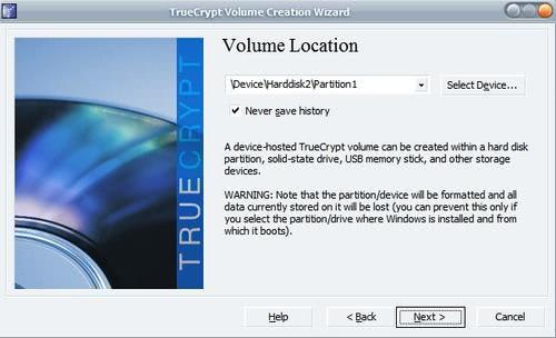 true crypt volume location
