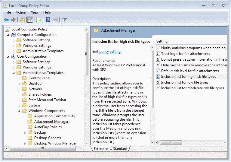 attachment manager file types