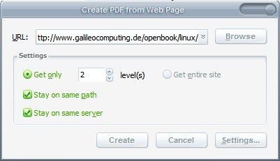create pdfs from full websites