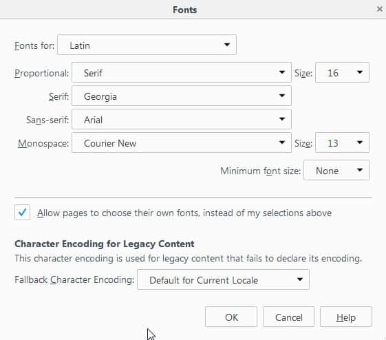 Changing Fonts in Firefox