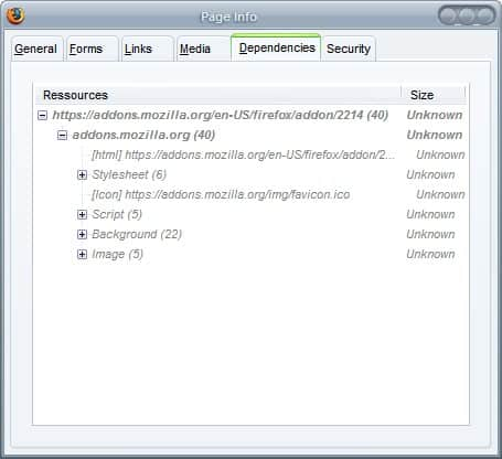 firefox view dependencies add-on
