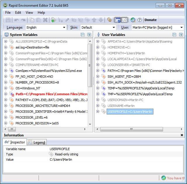 rapid environment editor screenshot