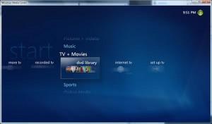 dvd library windows media center