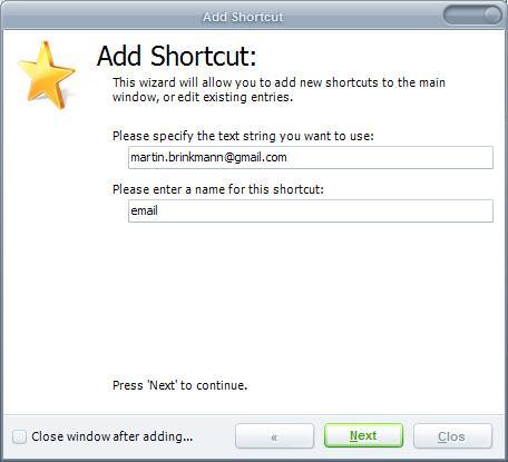 string shortcuts