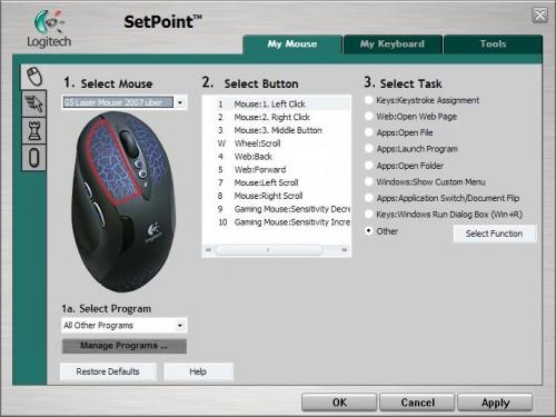 uberoptions logitech mouse