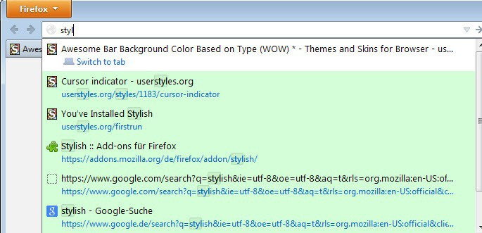 firefox address bar colors