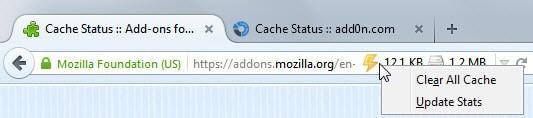 firefox cache status