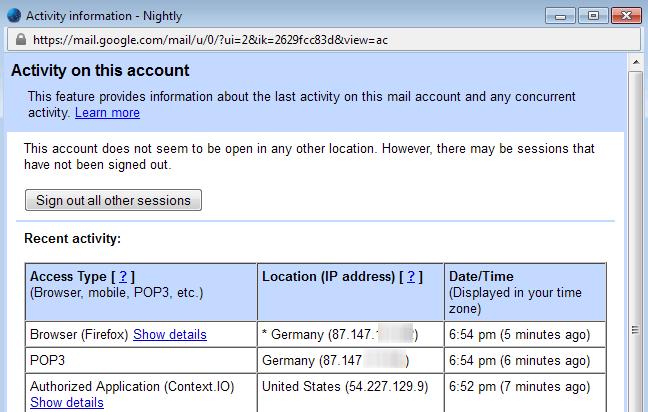 gmail activity information
