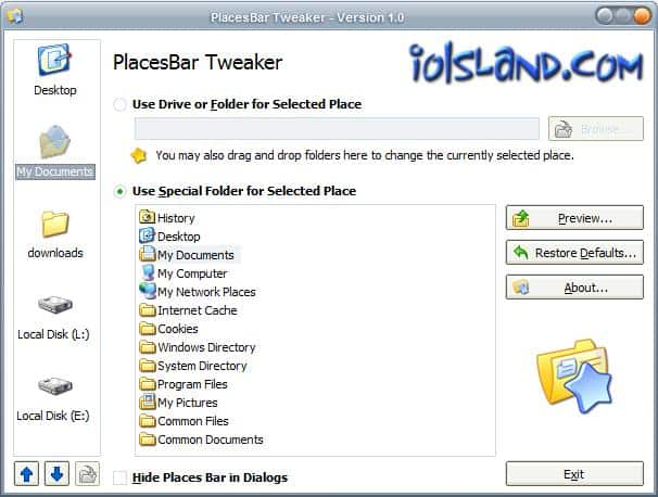 placesbar tweaker