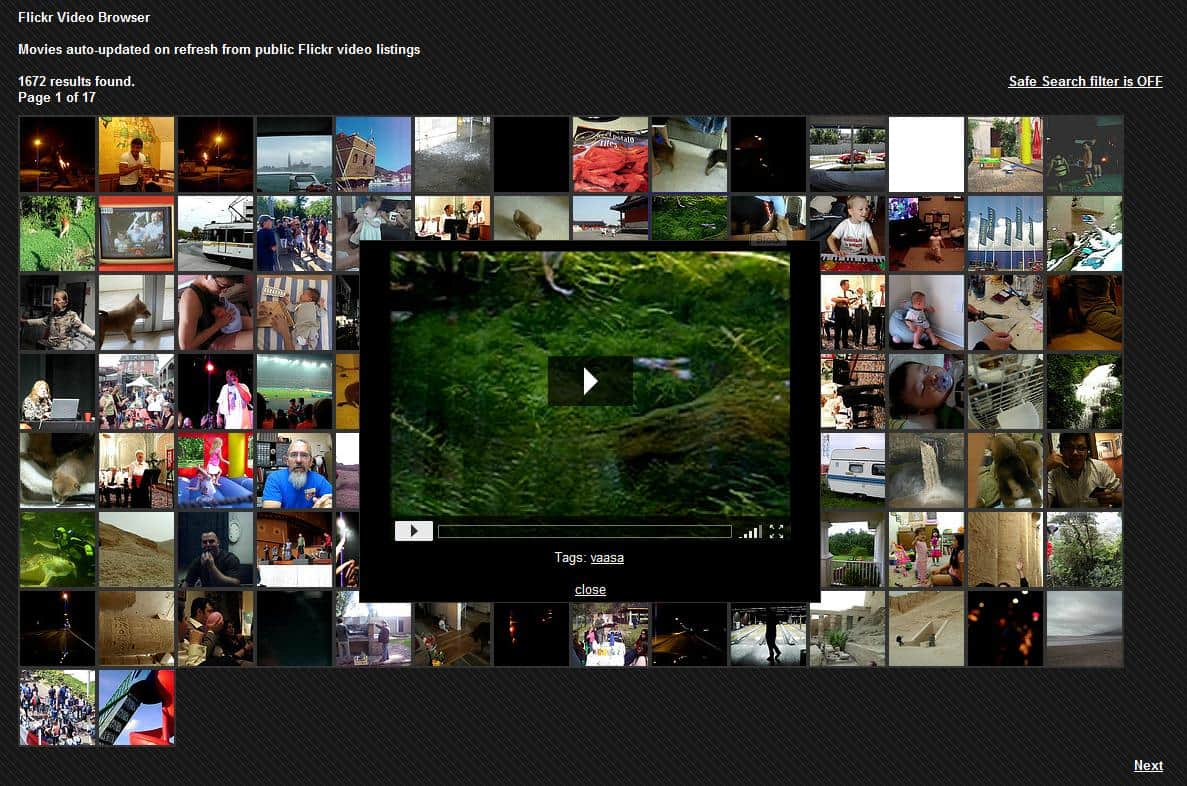 flickr video browser